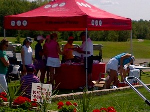 Girls getting ready to tee off at the MJT Championships in Manitoba